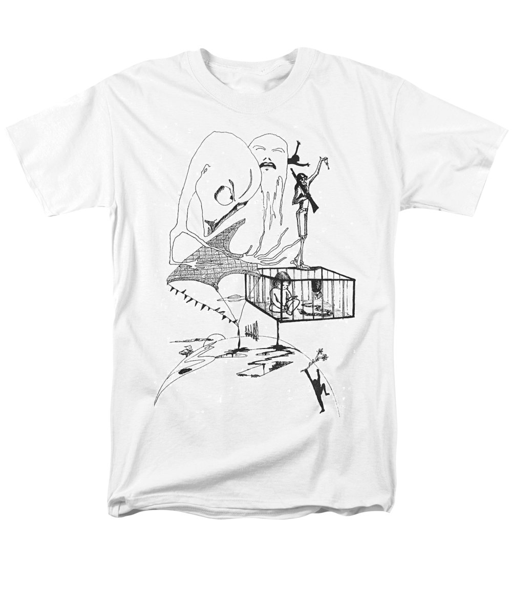 Drawing Pen Automatism Men's T-Shirt (Regular Fit) featuring the drawing Automatism by Veronica Jackson