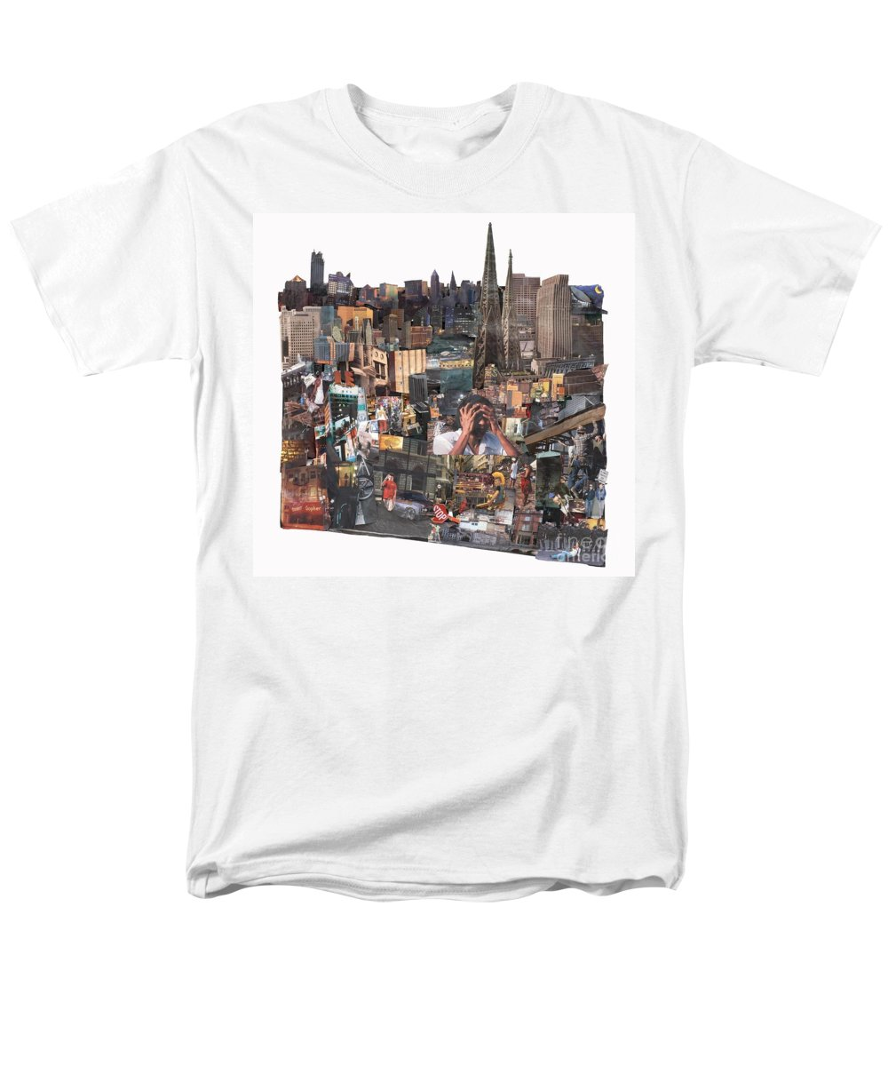 City Men's T-Shirt (Regular Fit) featuring the mixed media Avoidance aka Sit and Stand by Jaime Becker