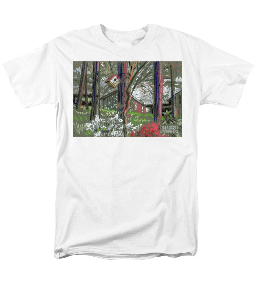 Azalea Men's T-Shirt (Regular Fit) featuring the drawing Azaleas in Spring by Donald Maier