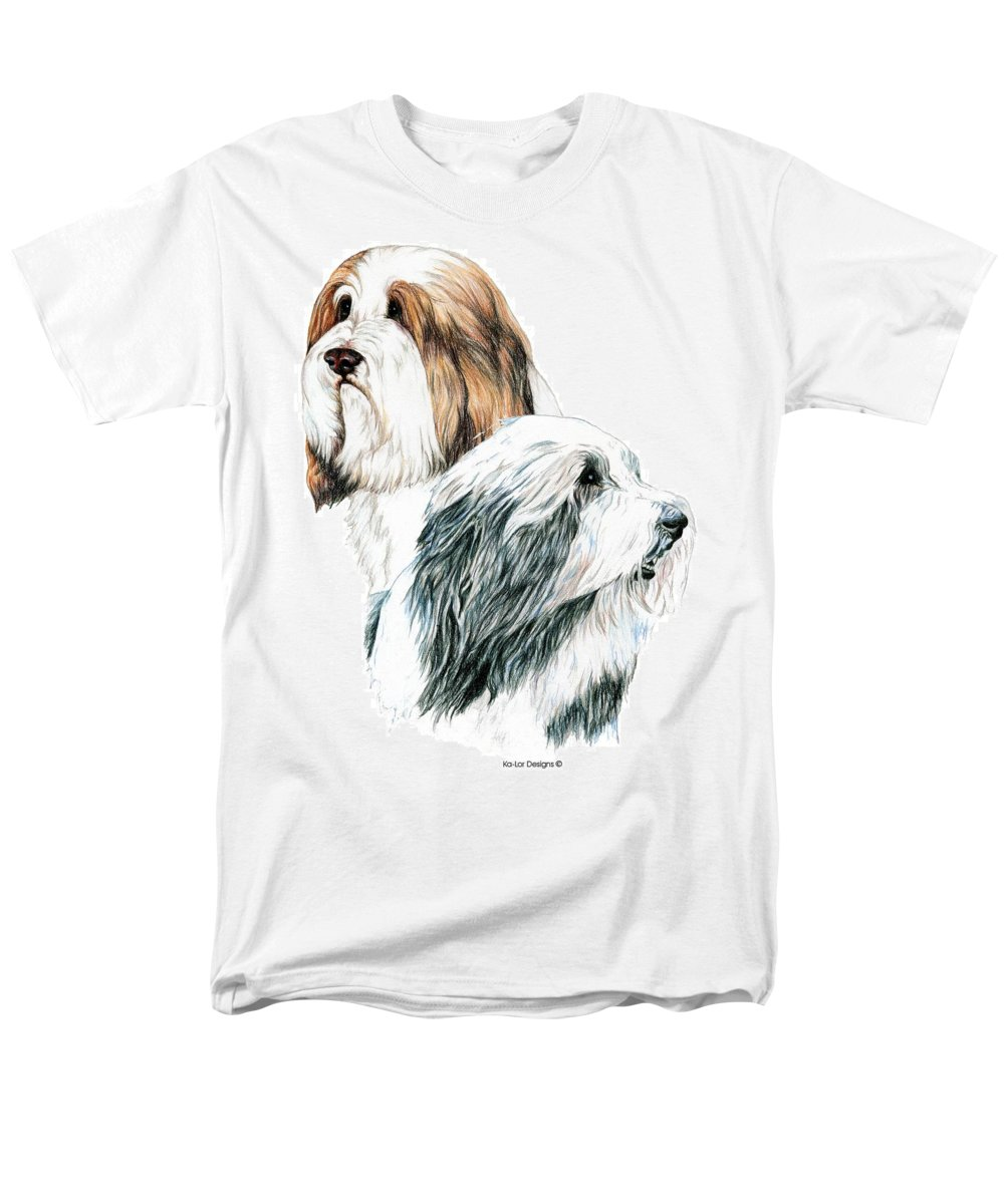 Bearded Collies Men's T-Shirt (Regular Fit) featuring the drawing Bearded Collies by Kathleen Sepulveda