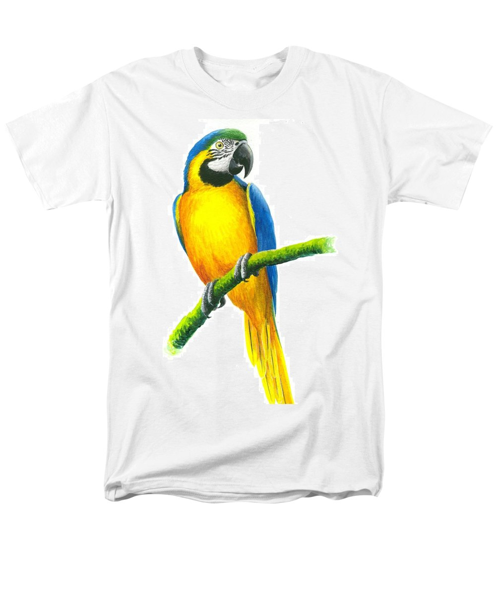 Chris Cox Men's T-Shirt (Regular Fit) featuring the painting Blue and Gold Macaw by Christopher Cox