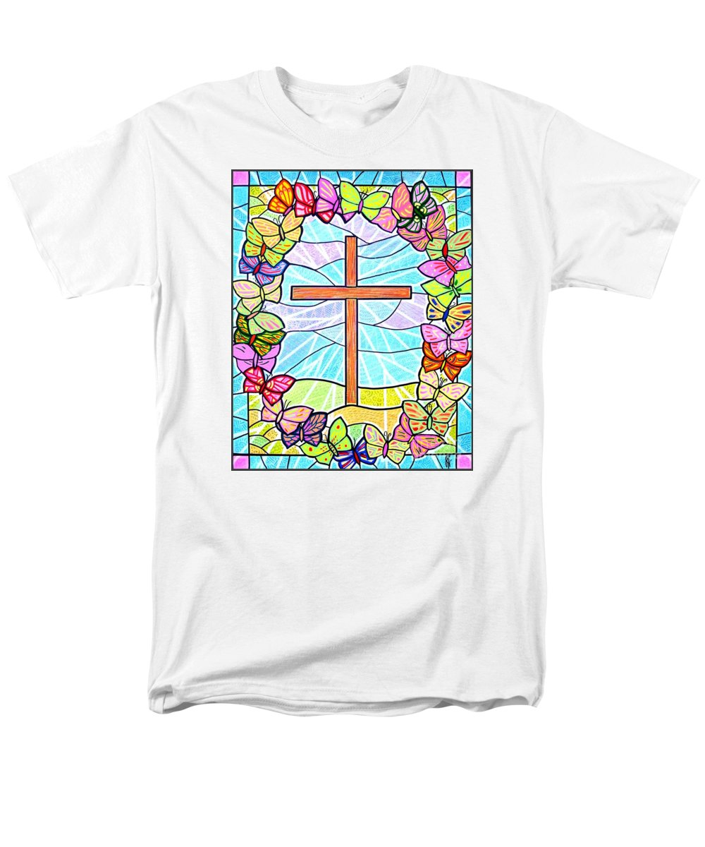 Easter Men's T-Shirt (Regular Fit) featuring the painting Butterflies and Cross by Jim Harris