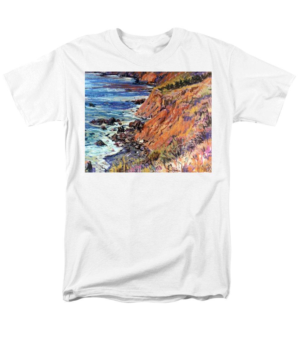 Big Sur Men's T-Shirt (Regular Fit) featuring the drawing California Coast by Donald Maier