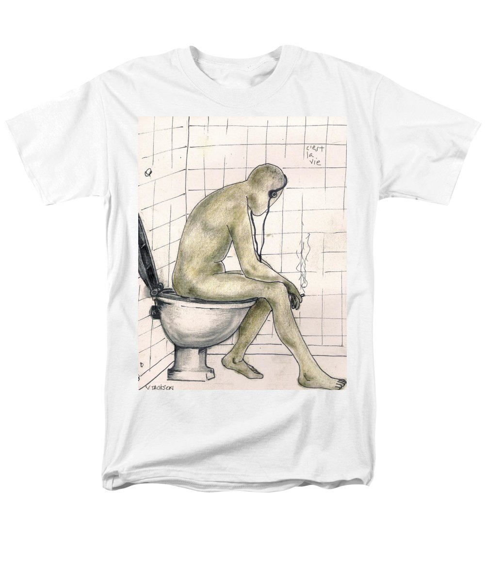 Life Naked Music Men's T-Shirt (Regular Fit) featuring the drawing C'est la vie by Veronica Jackson