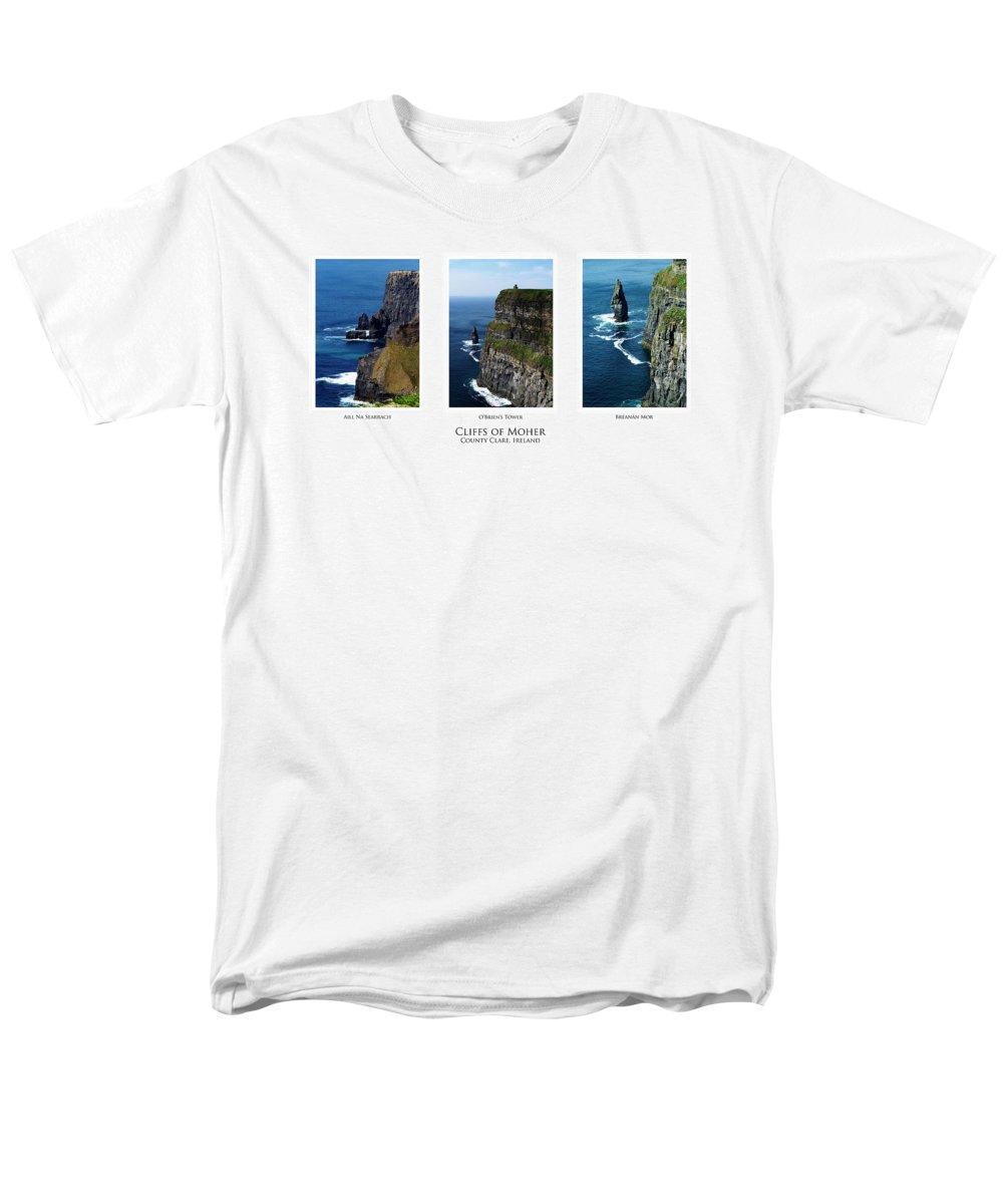 Irish Men's T-Shirt (Regular Fit) featuring the photograph Cliffs of Moher Ireland Triptych by Teresa Mucha