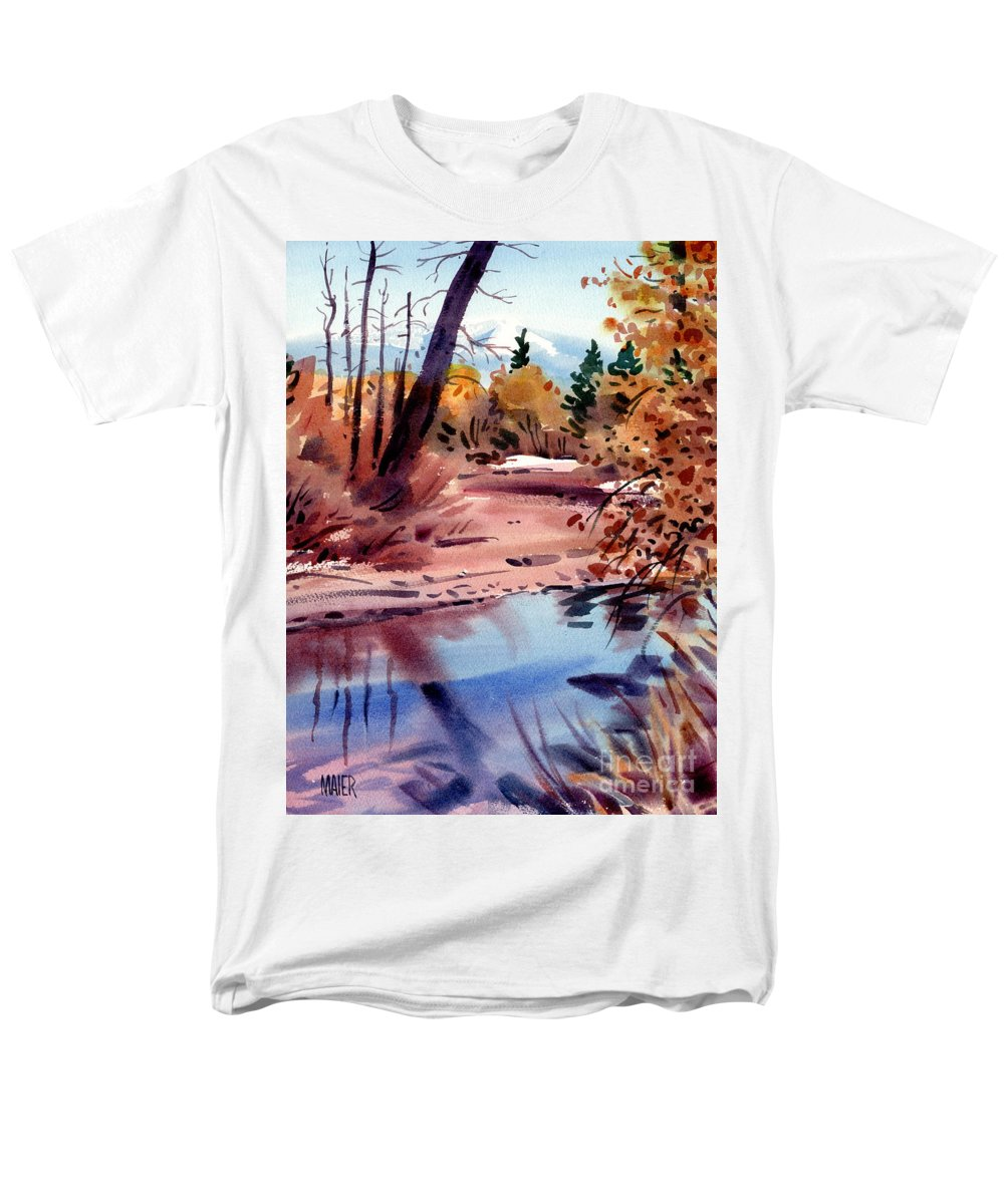 Cottonwood Trees Men's T-Shirt (Regular Fit) featuring the painting Cottonwoods in October by Donald Maier