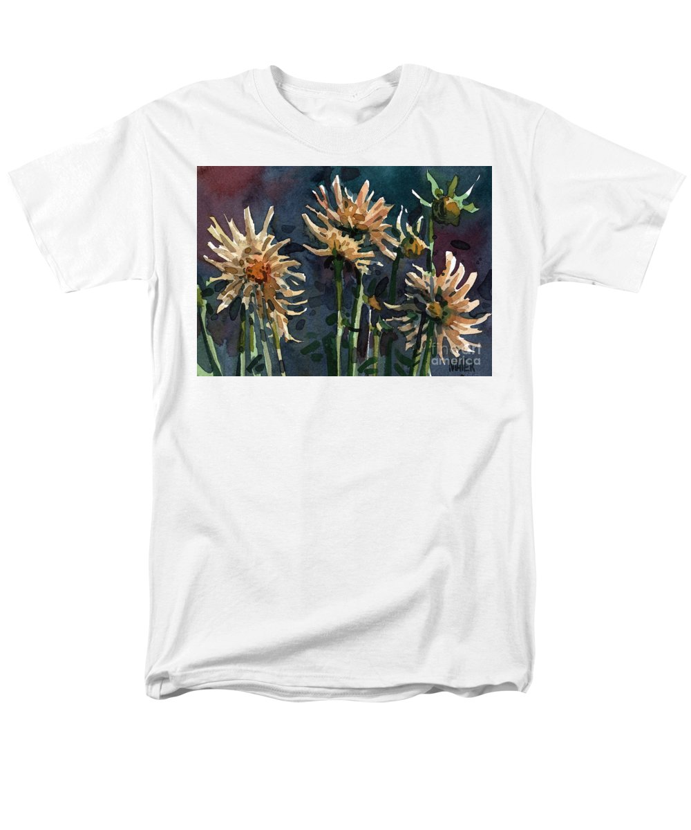 Floral Men's T-Shirt (Regular Fit) featuring the painting Dahlias by Donald Maier