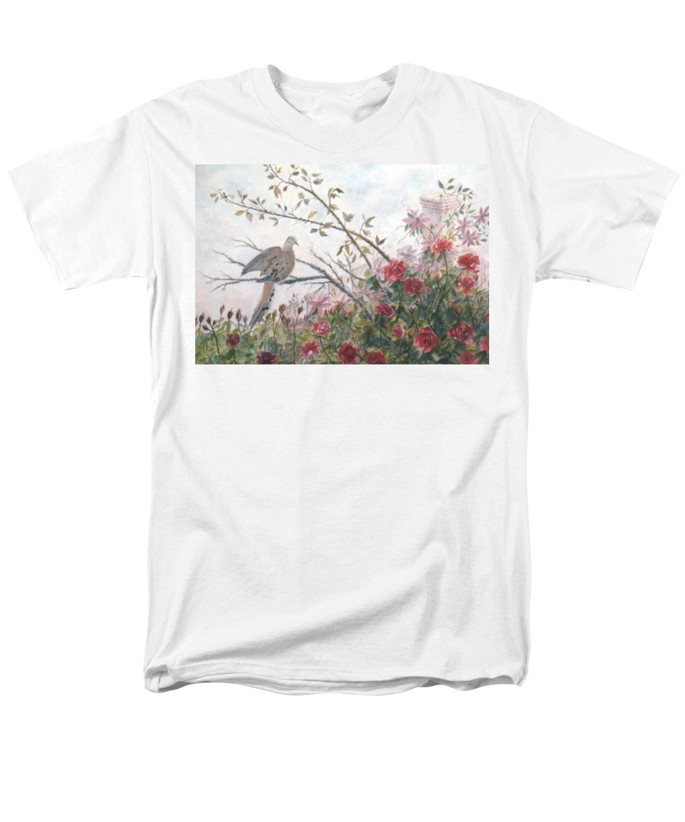 Dove; Roses Men's T-Shirt (Regular Fit) featuring the painting Dove And Roses by Ben Kiger