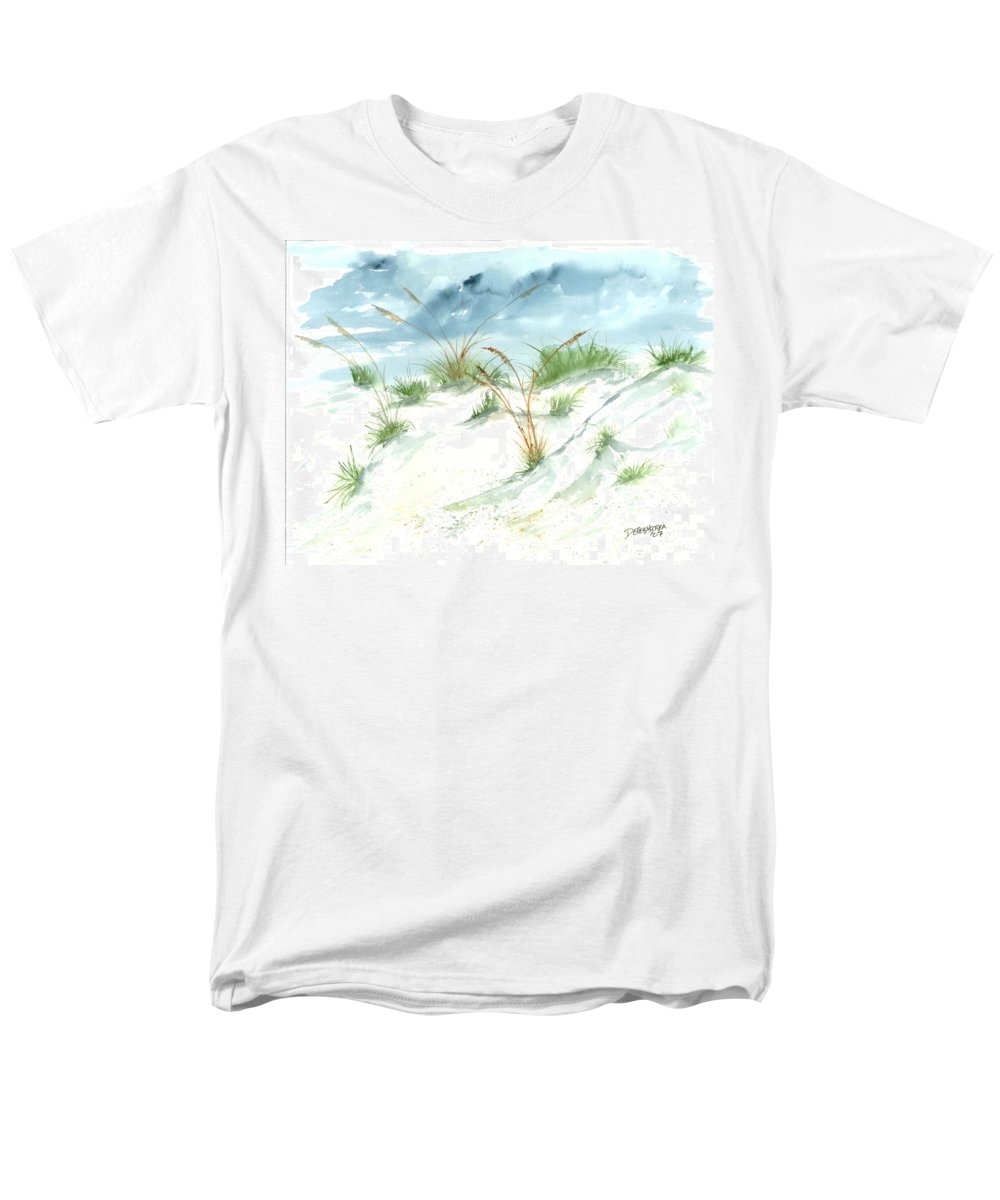 Beach Men's T-Shirt (Regular Fit) featuring the painting Dunes 3 seascape beach painting print by Derek Mccrea