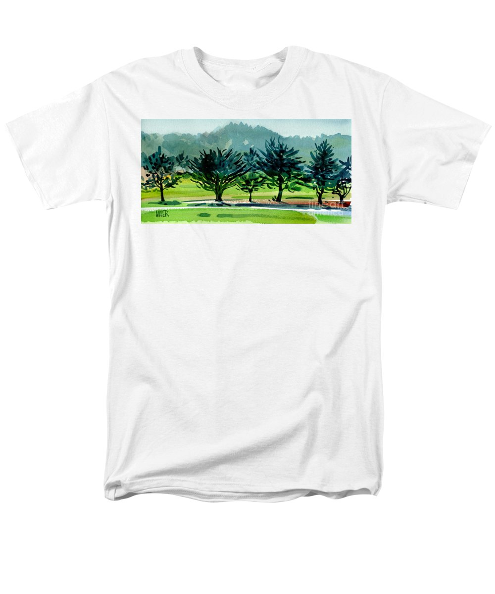 Crystal Springs Men's T-Shirt (Regular Fit) featuring the painting Fairway Junipers by Donald Maier
