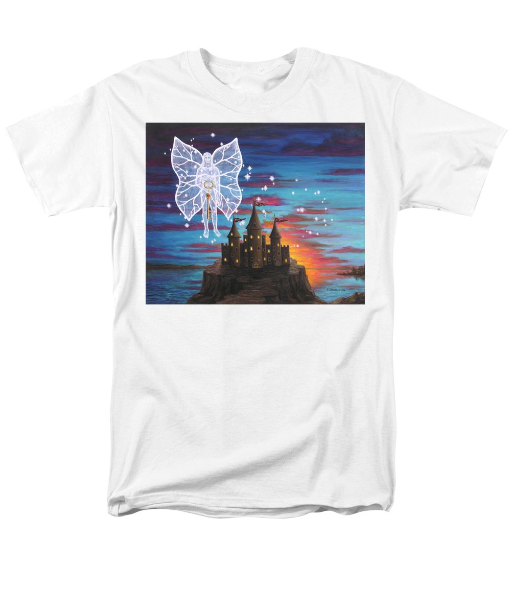 Fantasy Men's T-Shirt (Regular Fit) featuring the painting Fairy Takes The Key by Roz Eve