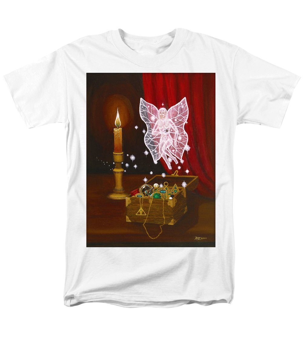 Fairy Men's T-Shirt (Regular Fit) featuring the painting Fairy Treasure by Roz Eve