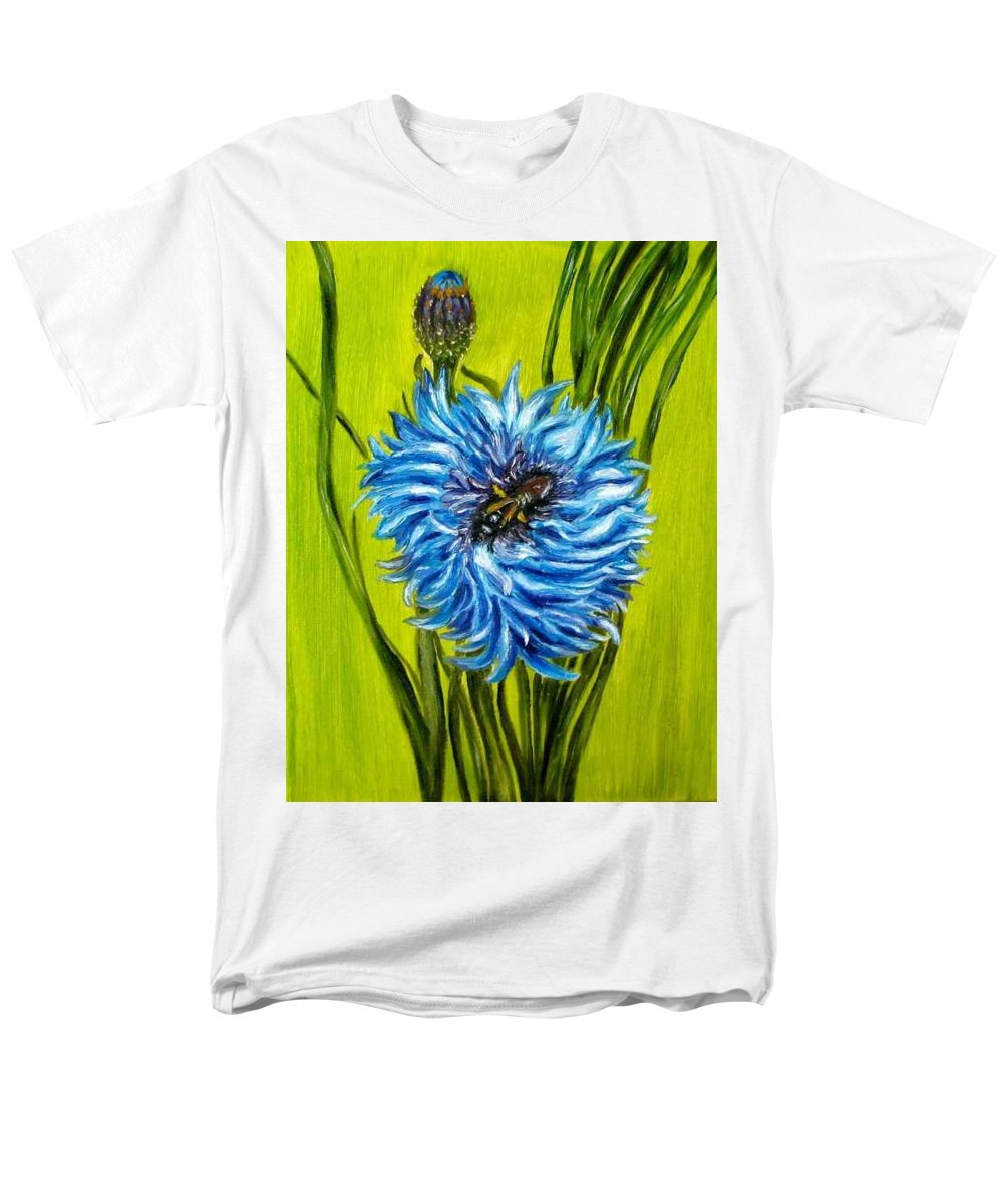 Floral Men's T-Shirt (Regular Fit) featuring the painting Flower and Bee oil painting by Natalja Picugina
