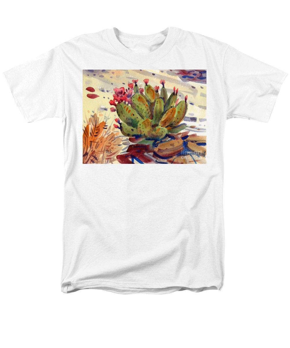 Opuntia Cactus Men's T-Shirt (Regular Fit) featuring the painting Flowering Opuntia by Donald Maier