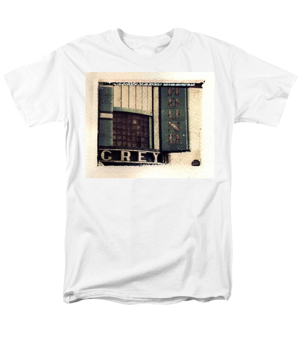 Polaroid Transfer Men's T-Shirt (Regular Fit) featuring the photograph Go Greyhound And Leave The Driving To Us by Jane Linders