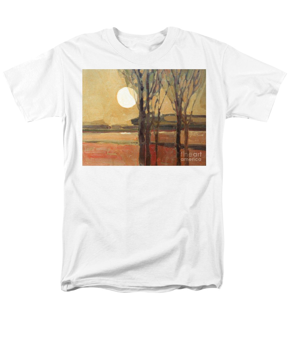 Sunset Men's T-Shirt (Regular Fit) featuring the painting Harvest Moon by Donald Maier