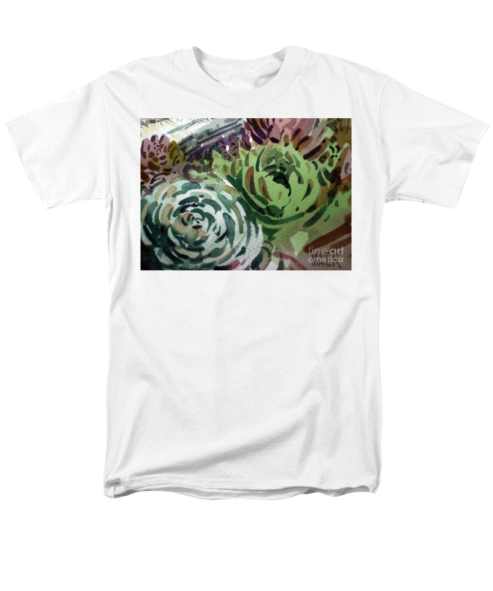Succulent Plants Men's T-Shirt (Regular Fit) featuring the painting Hen and Chicks by Donald Maier