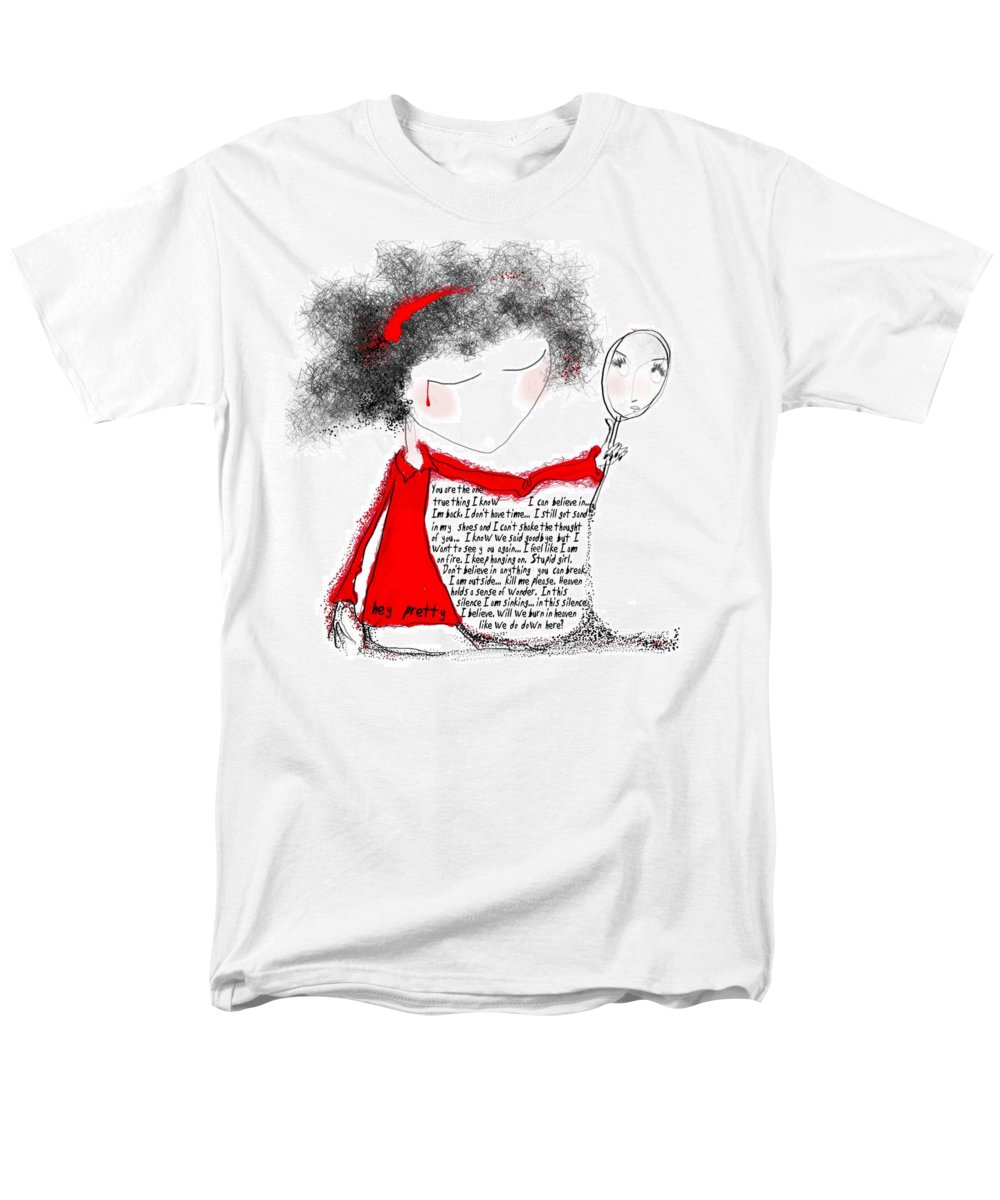 Pretty Woman Crying Tears Red Words Mirror Girls Men's T-Shirt (Regular Fit) featuring the digital art Hey pretty by Veronica Jackson