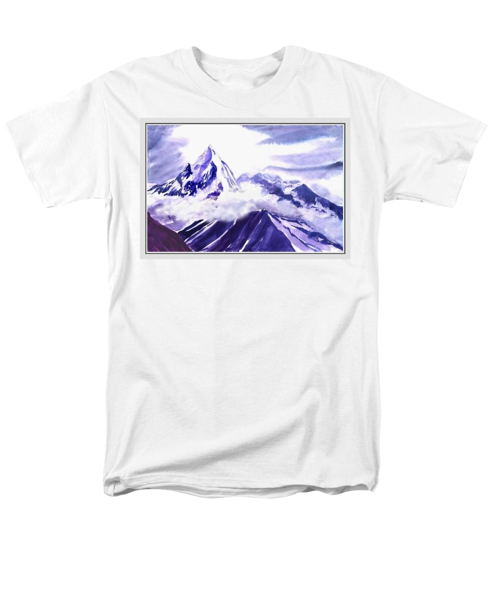 Landscape Men's T-Shirt (Regular Fit) featuring the painting Himalaya by Anil Nene