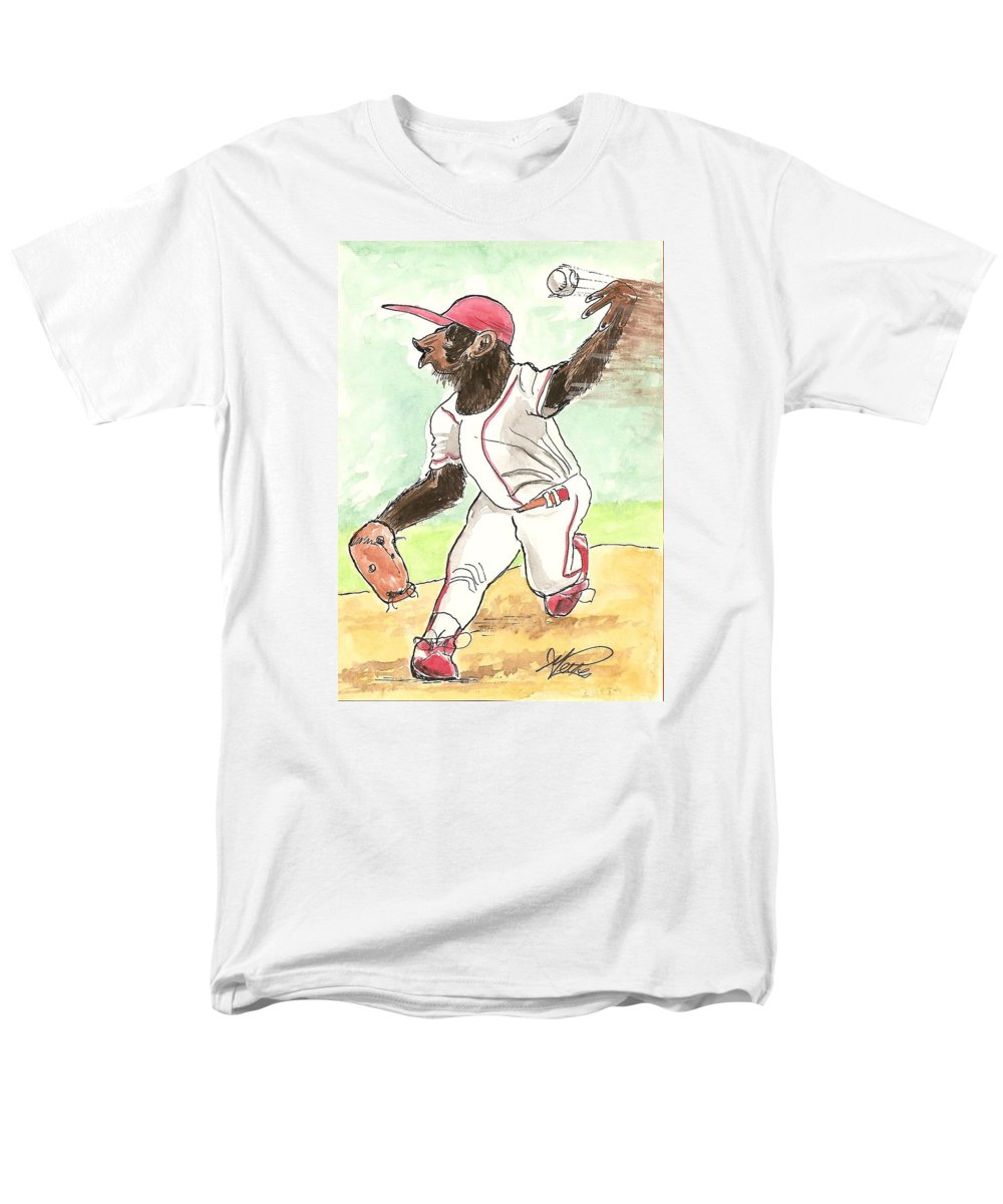 Baseball Men's T-Shirt (Regular Fit) featuring the drawing Hit This by George I Perez