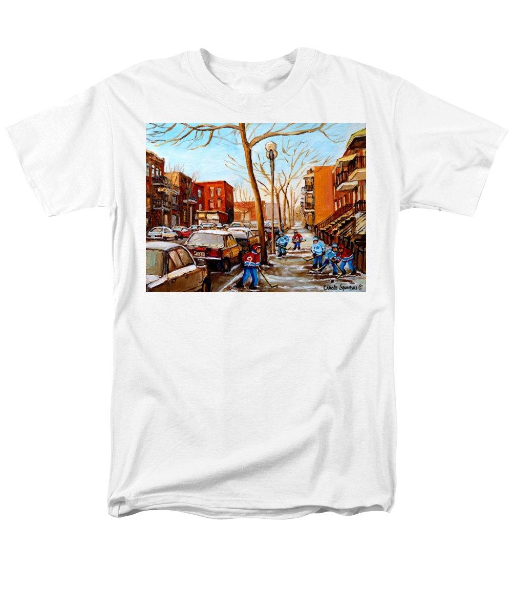 Hockey Men's T-Shirt (Regular Fit) featuring the painting Hockey On St Urbain Street by Carole Spandau
