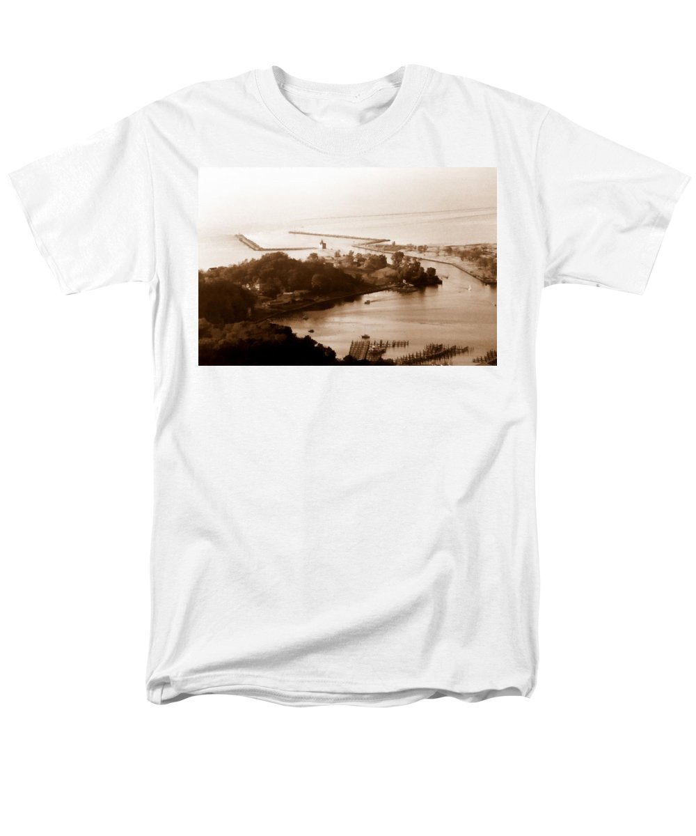Holland Men's T-Shirt (Regular Fit) featuring the photograph Holland Michigan Harbor Big Red Aerial Photo by Michelle Calkins