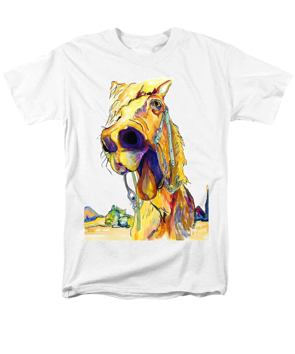 Animal Painting Men's T-Shirt (Regular Fit) featuring the painting Horsing Around by Pat Saunders-White