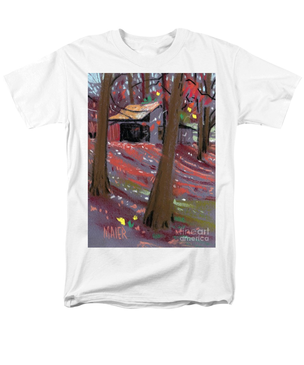 Barns Men's T-Shirt (Regular Fit) featuring the drawing James's Barns 3 by Donald Maier
