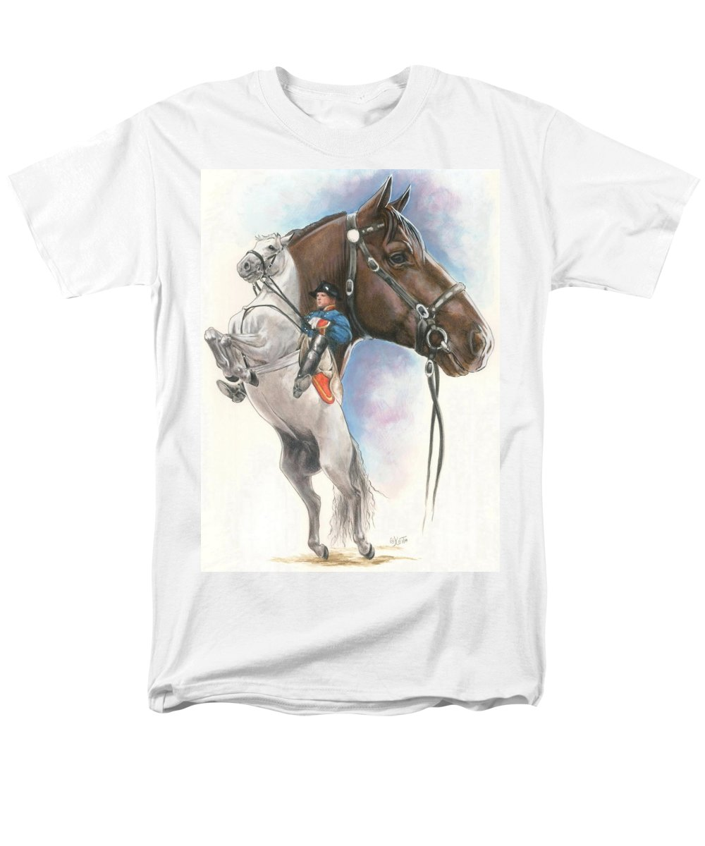 Equus Men's T-Shirt (Regular Fit) featuring the mixed media Lippizaner by Barbara Keith