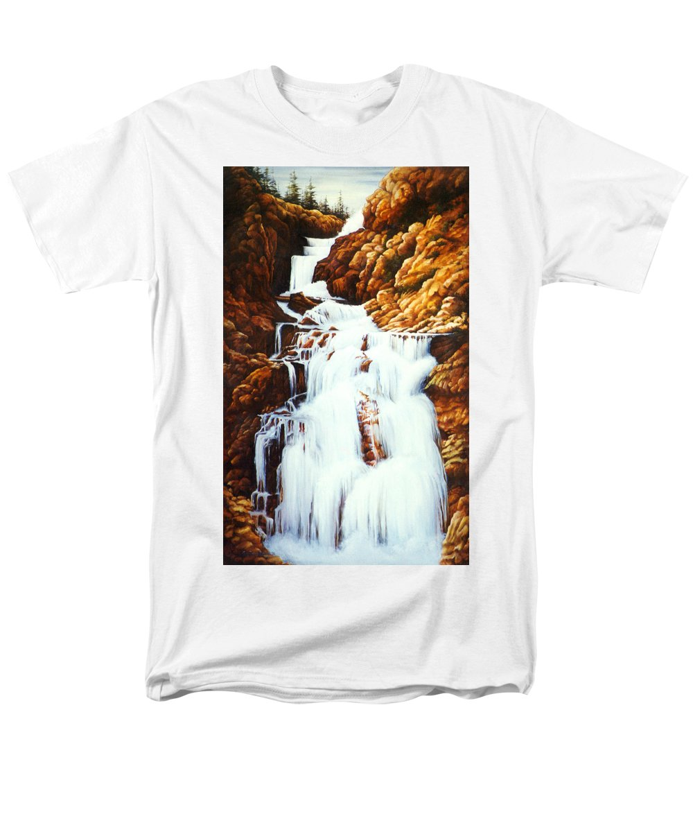 Waterfall Men's T-Shirt (Regular Fit) featuring the painting Little Firehole Falls by Teri Rosario