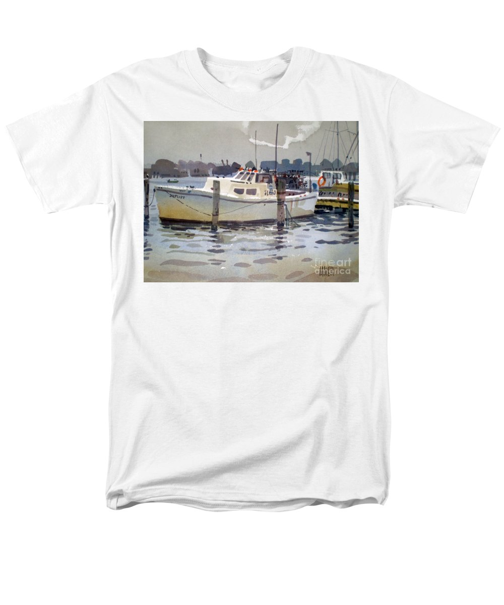 Lobster Boat Men's T-Shirt (Regular Fit) featuring the painting Lobster Boats in Shark River by Donald Maier