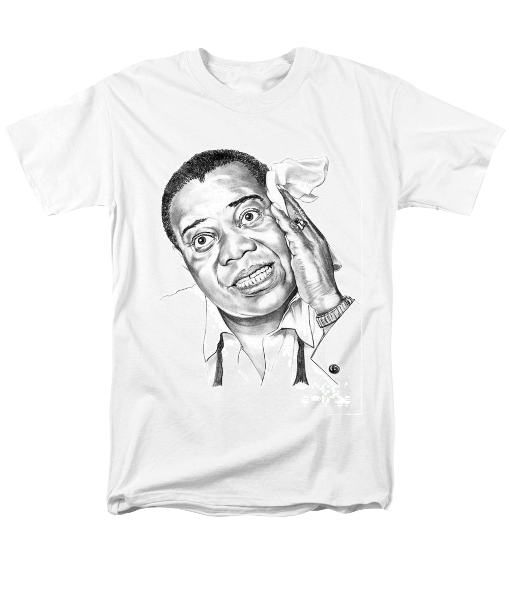 Music Men's T-Shirt (Regular Fit) featuring the drawing Louis Satchmo Armstrong by Murphy Elliott