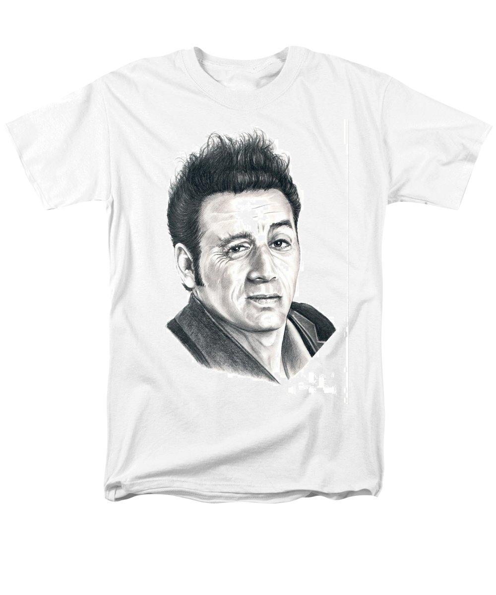Pencil Men's T-Shirt (Regular Fit) featuring the drawing Michael Richards Cosmo Kramer by Murphy Elliott