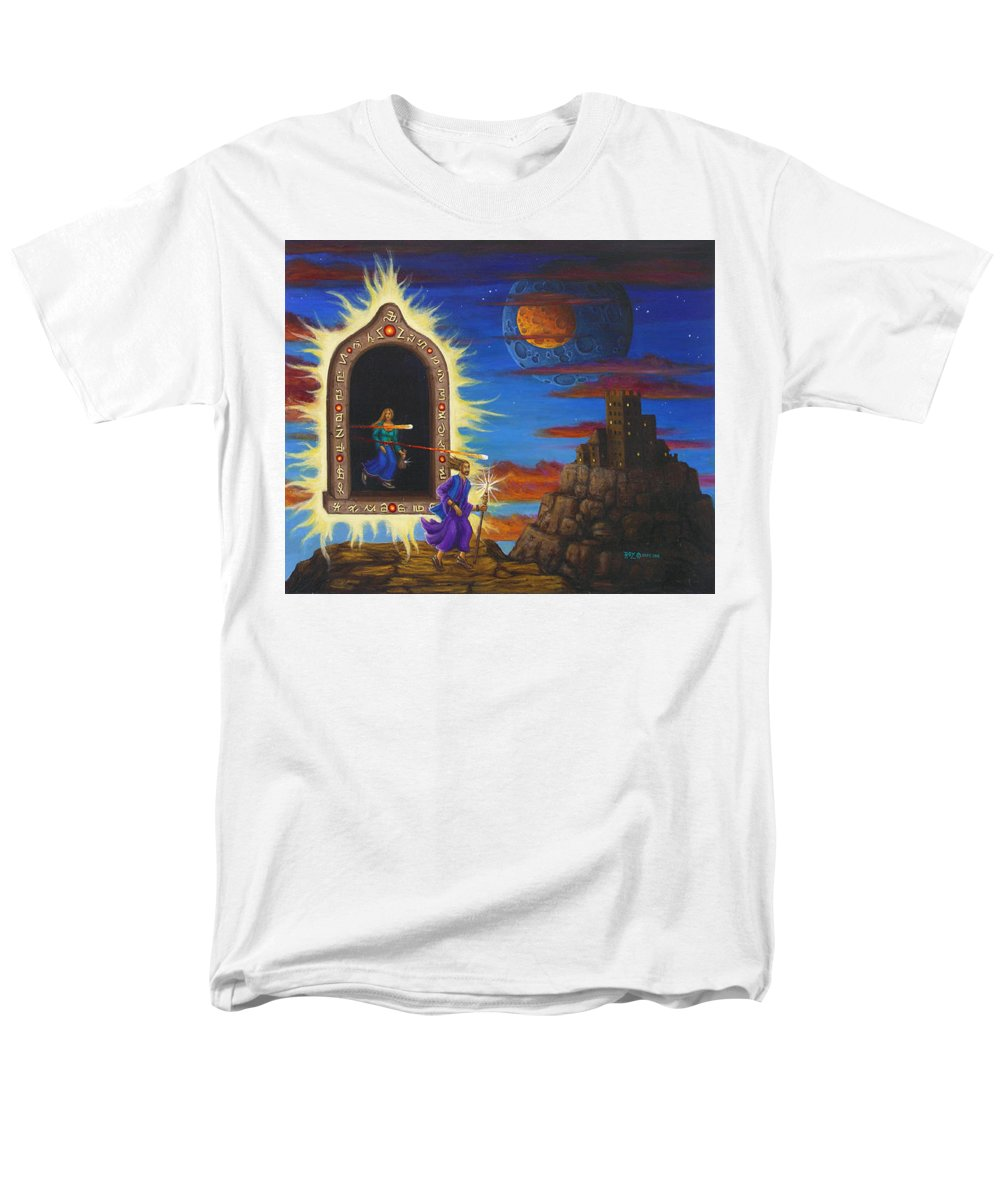 Fantasy Men's T-Shirt (Regular Fit) featuring the painting Narrow Escape by Roz Eve
