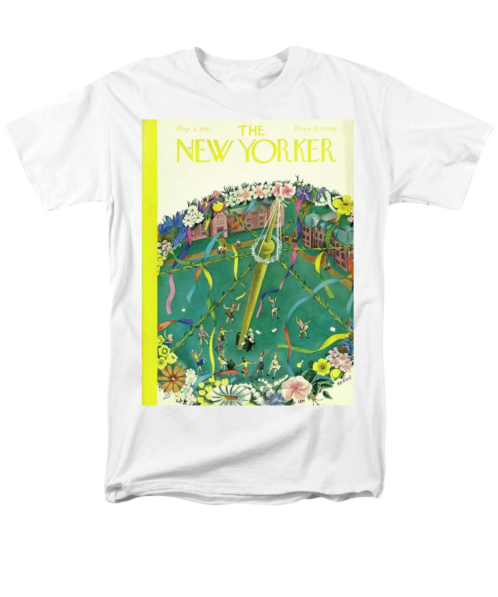 Spring Men's T-Shirt (Regular Fit) featuring the painting New Yorker May 3 1941 by Ilonka Karasz
