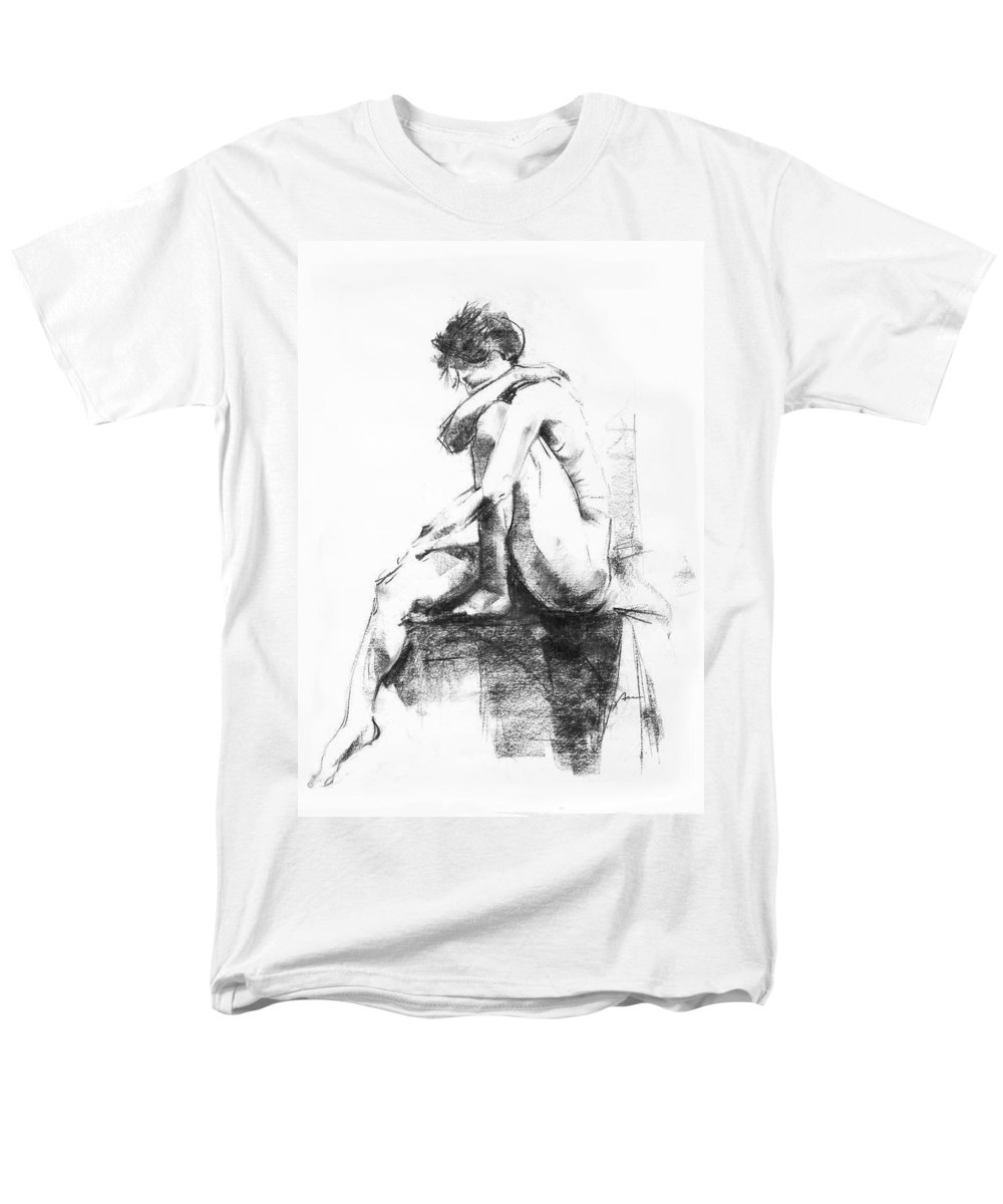 Nude Men's T-Shirt (Regular Fit) featuring the drawing Nude 11 by Ani Gallery