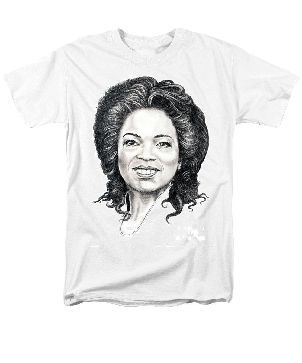 Oprah Men's T-Shirt (Regular Fit) featuring the drawing Oprah Winfrey by Murphy Elliott