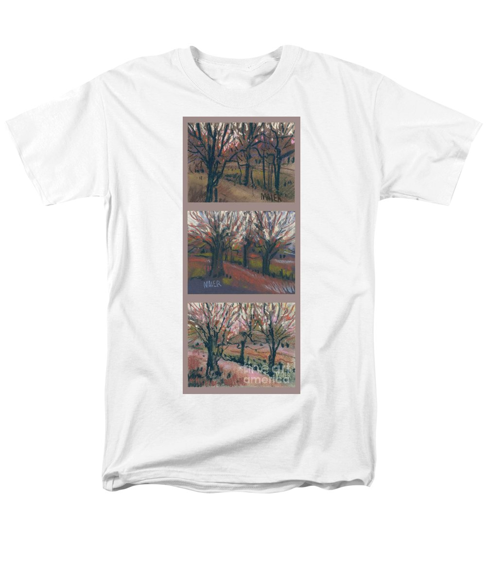 Pastel Men's T-Shirt (Regular Fit) featuring the drawing Orchard Sunset by Donald Maier
