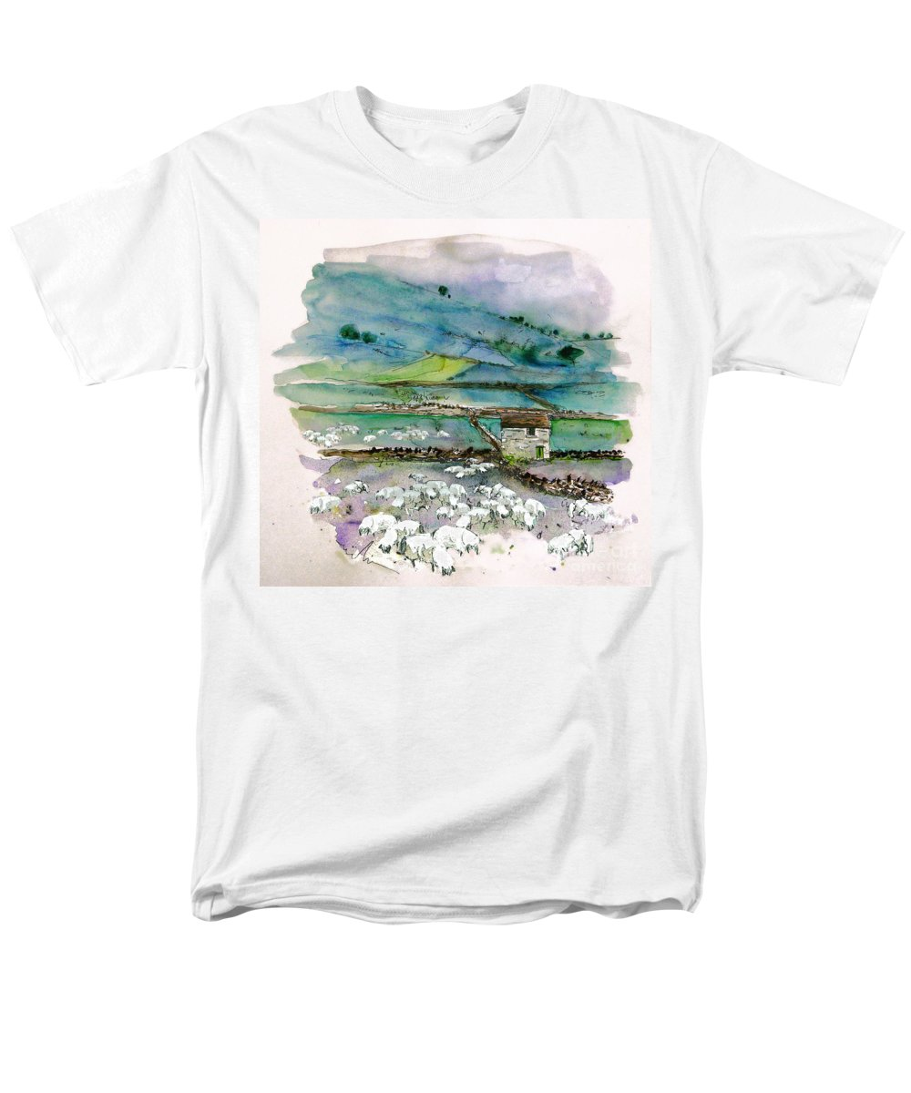 Paintings England Watercolour Travel Sketches Ink Drawings Art Landscape Paintings Town Men's T-Shirt (Regular Fit) featuring the painting Peak District UK Travel Sketch by Miki De Goodaboom