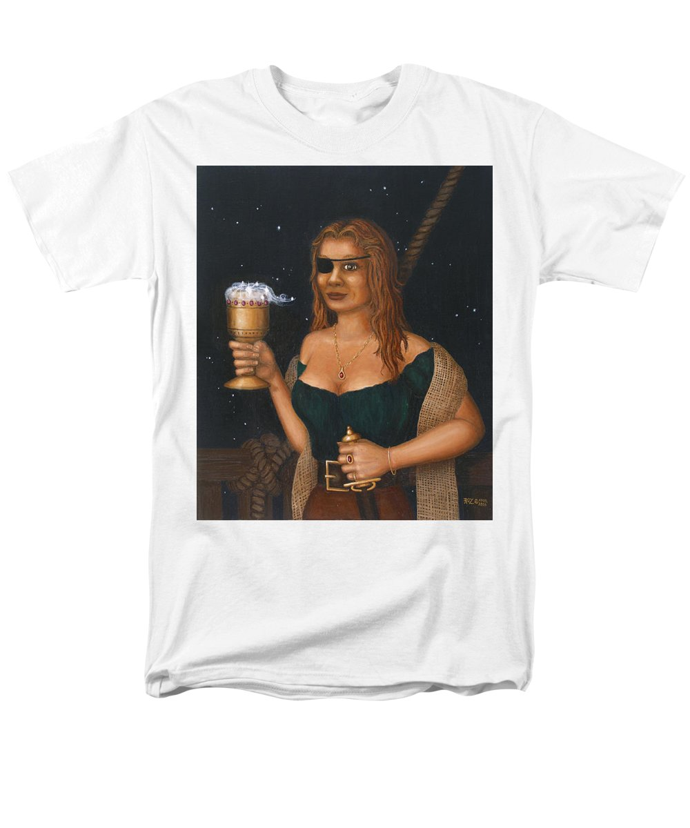 Fantasy Men's T-Shirt (Regular Fit) featuring the painting Pirate Queen by Roz Eve
