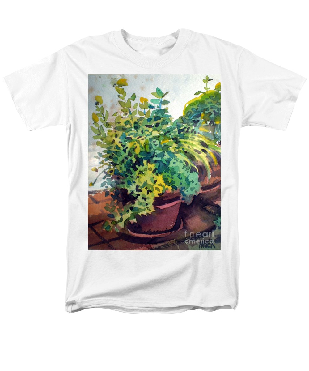 Herbs Men's T-Shirt (Regular Fit) featuring the painting Potted Herbs by Donald Maier