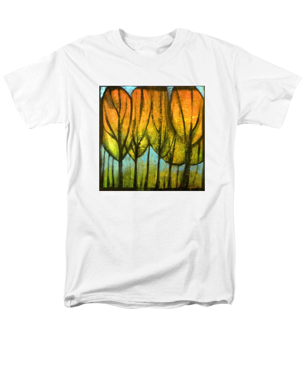 Trees Men's T-Shirt (Regular Fit) featuring the painting Quiet Blaze by Tim Nyberg