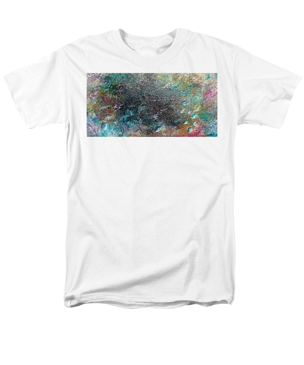 Original Abstract Painting Of Under The Sea Men's T-Shirt (Regular Fit) featuring the painting Rainbow Reef by Karin Dawn Kelshall- Best