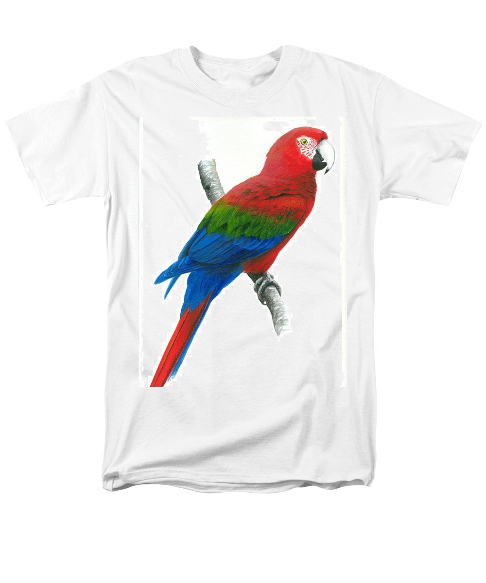 Chris Cox Men's T-Shirt (Regular Fit) featuring the painting Red and Green Macaw by Christopher Cox