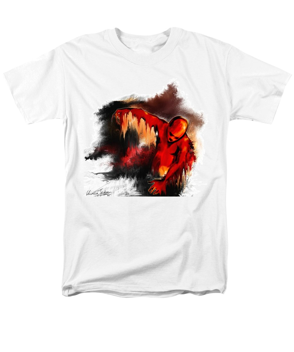Red Man Passion Sureall Fire Men's T-Shirt (Regular Fit) featuring the digital art Red man by Veronica Jackson