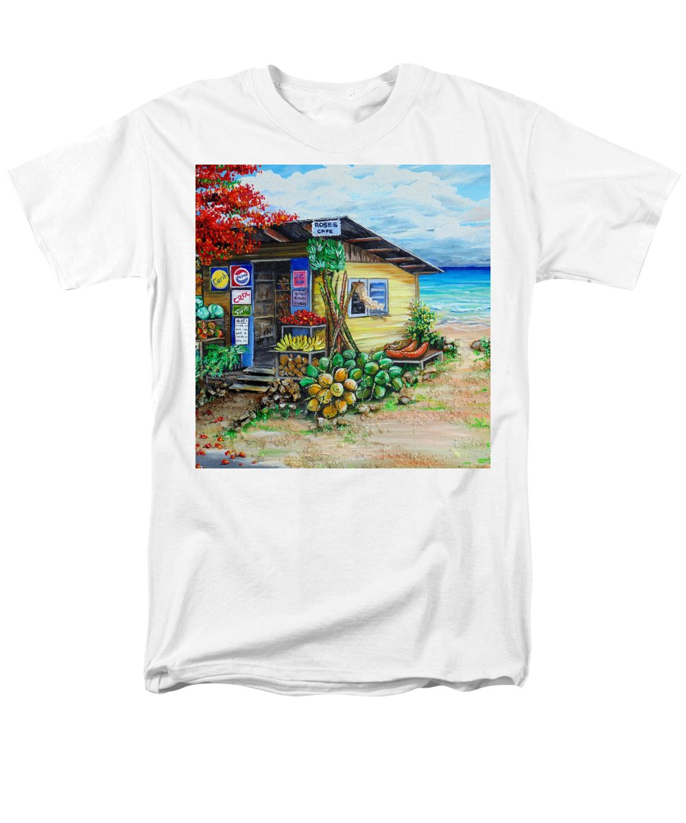 Beach Cafe Men's T-Shirt (Regular Fit) featuring the painting Rosies Beach Cafe by Karin Dawn Kelshall- Best
