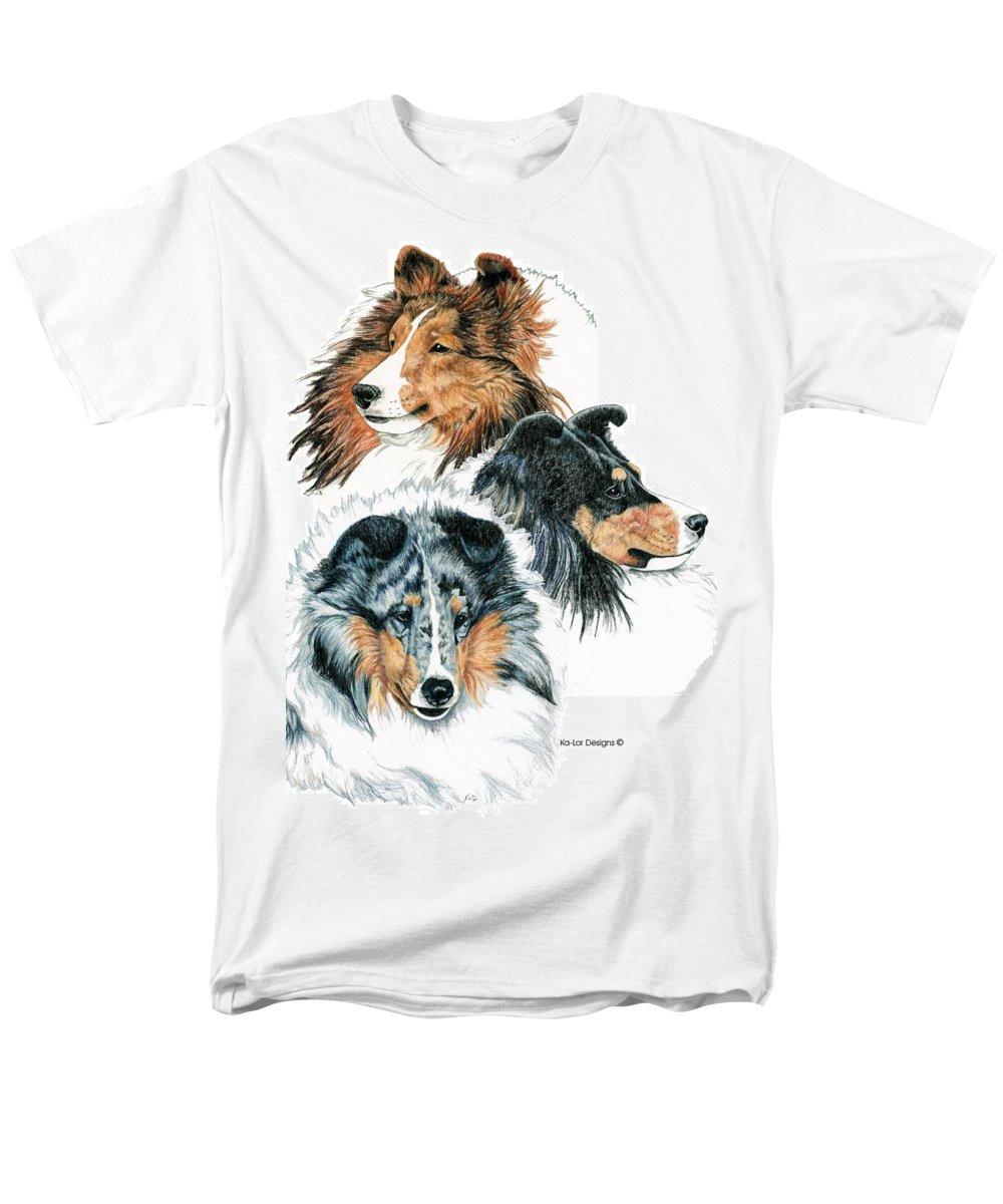 Shetland Sheepdog Men's T-Shirt (Regular Fit) featuring the drawing Shetland Sheepdogs by Kathleen Sepulveda