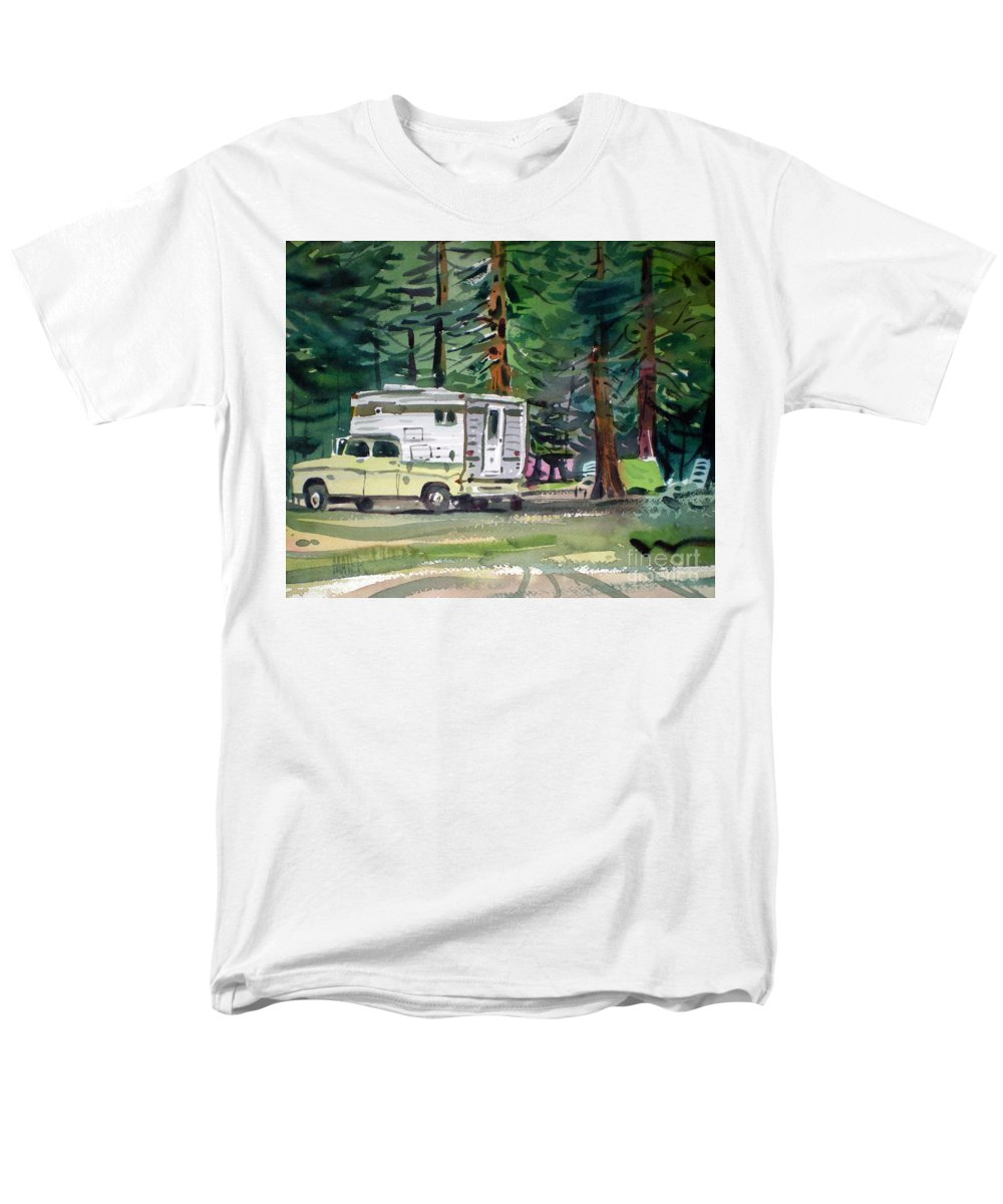 Camping Men's T-Shirt (Regular Fit) featuring the painting Sierra Campsite by Donald Maier