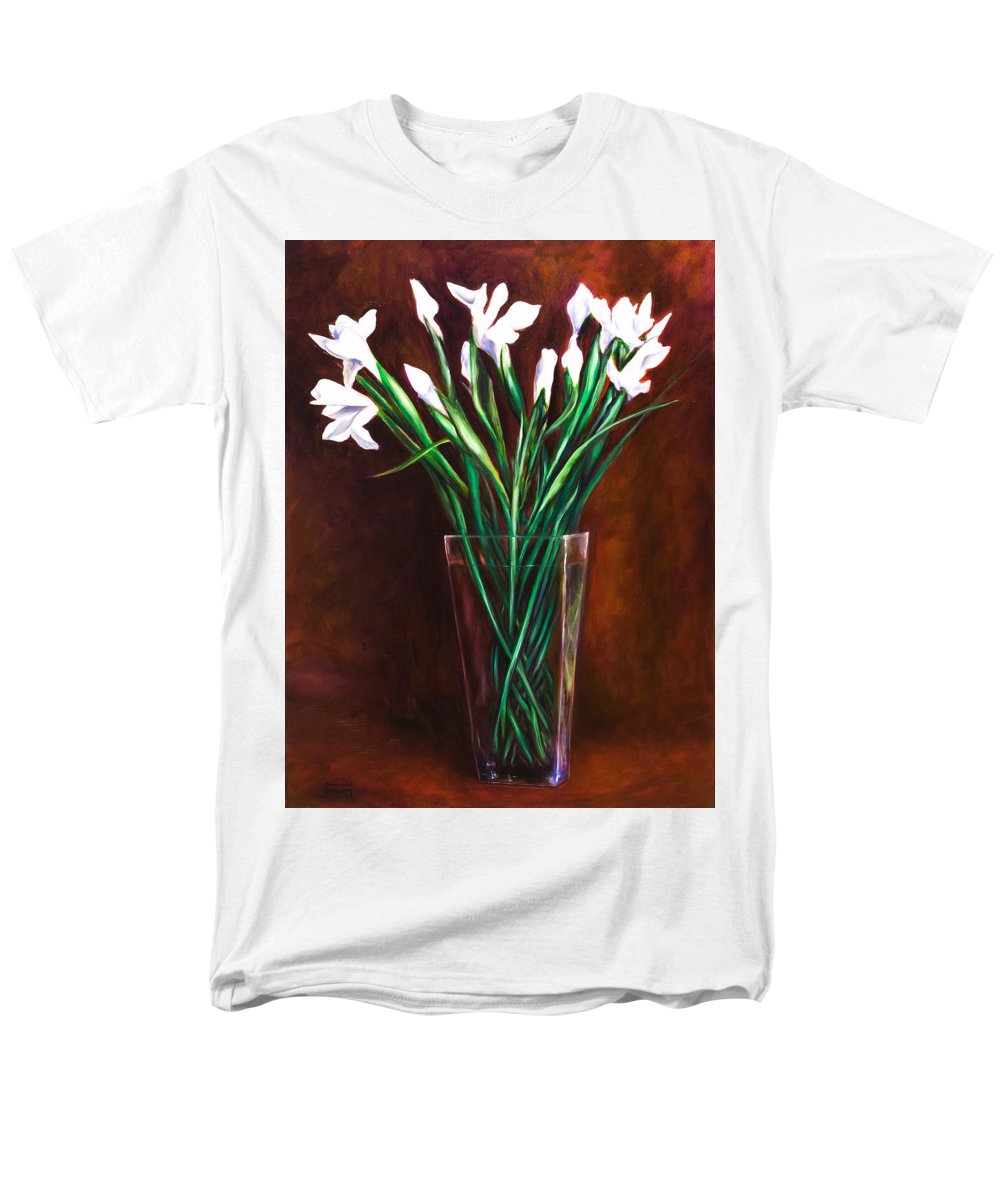 Iris Men's T-Shirt (Regular Fit) featuring the painting Simply Iris by Shannon Grissom