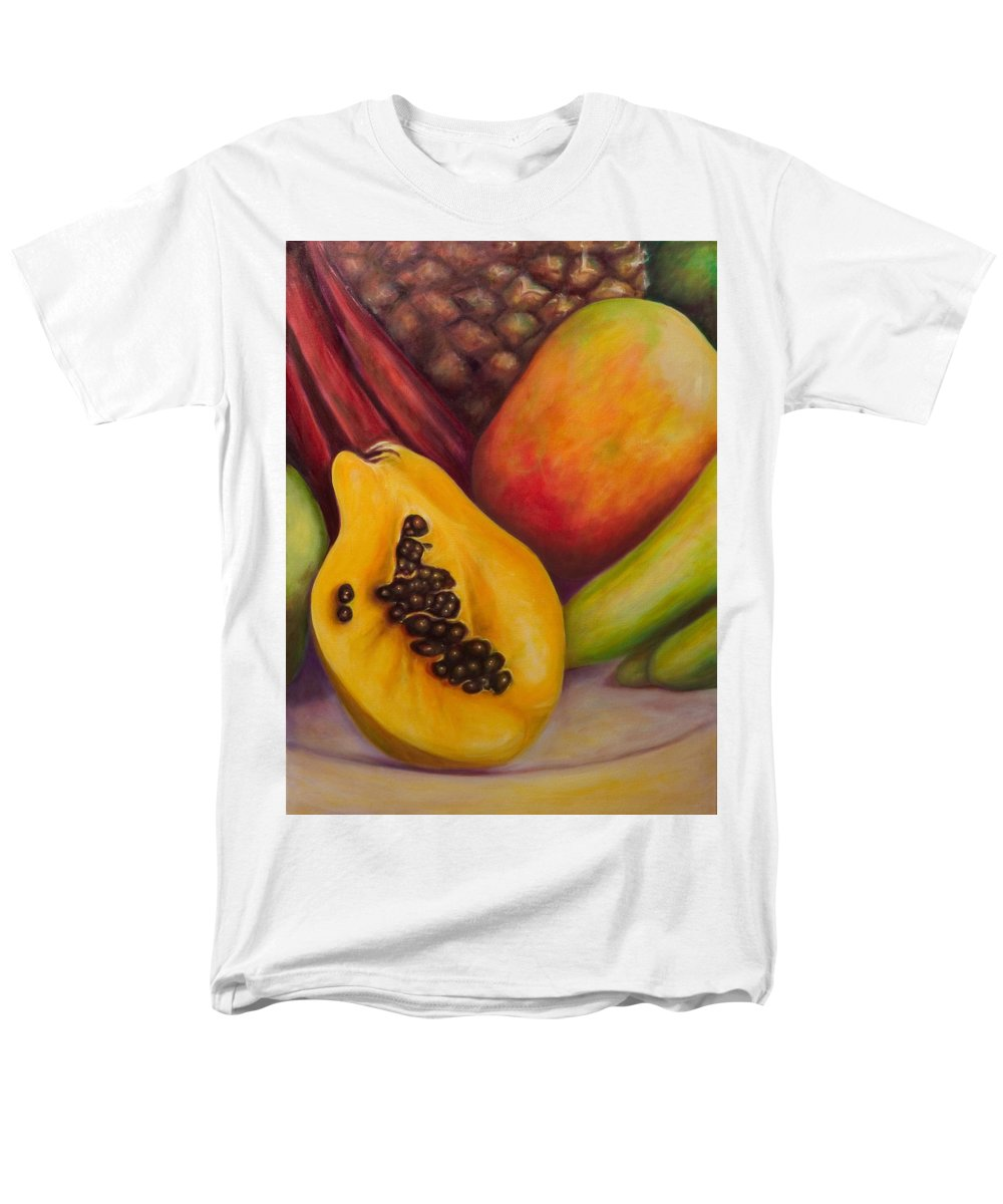 Tropical Fruit Still Life: Mangoes Men's T-Shirt (Regular Fit) featuring the painting Solo by Shannon Grissom
